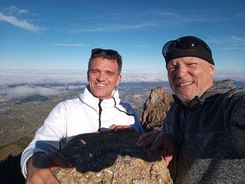Mit Michael auf demGipfel des Roque de Saucillo