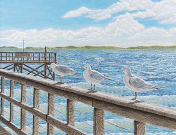 "Acrylic painting of seagulls on Cape Fear pier - ""Sunday Morning"""