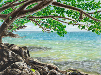 "Acrylic painting of ocean behind rocks under scrub oak - ""Leaf On Rock"""
