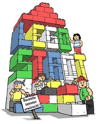 Flyer-Schriftzug: Legostadt