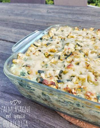 Zalmlasagne met spinazie, ricotta en courgette