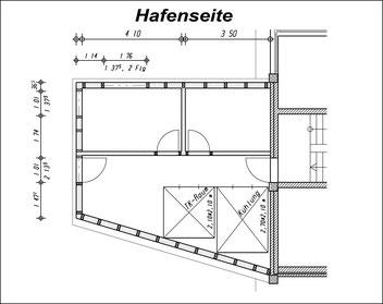 Grundriss des Anbaus aus Bauantrag