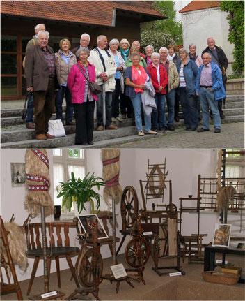 Exkursionsteilnehmer im Pfleghof Langenau / Textilbearbeitung im Heimatmuseum                                                                                                                                      .