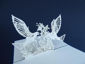 Carte kirigami Colombes - Carte d'amitié - Carte de condoléances - Carte pop-up condoléances