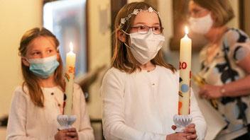 Für die Kinder der Pfarrei Liebfrauen ist ihre Erstkommunion etwas Besonderes. Wegen Corona fiel die geplante große, gemeinsame Messe jedoch aus und wurde durch mehrere kleine Gottesdienste ersetzt. (WAZ-Foto: Arnulf Stoffel / FUNKE Foto Services)