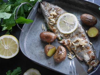 Gebratene Forelle / Schalenerdäpfel / Pinienkernbutter