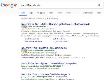 Bild Google Adwords Werbung auf Köln ausgerichtet