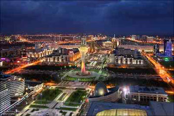 Un'immagine suggestiva dall' alto di Astana, capitale avveniristica del Kazakistan