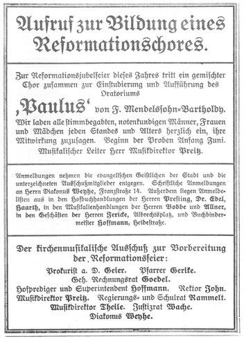 Gründung des Chores - Lutherchor Dessau