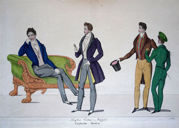 Modenzeitung, fünftes Extra-Kupfer 'Englische Moden', ca. 1830. Foto: Nina Möller