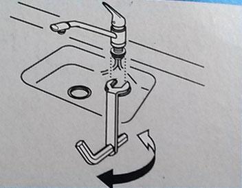 水栓固定用道具の使い方