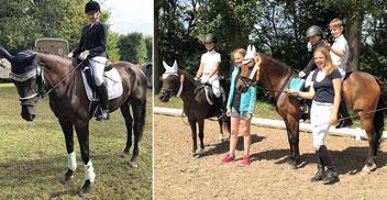 Links: Jana Olt auf Aura Dior. Rechts: V. l. stehend: Karina und Kim Kiermeier, auf den Pferden: Shirin Mader, Kristina Kiermeier und Leon Sauer
