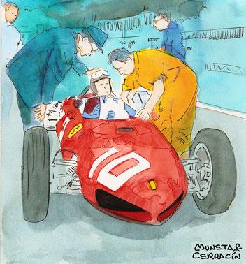 Mauro Forghieri & Willy Mairesse a los mandos de un Ferrari 156 by Muneta & Cerracín