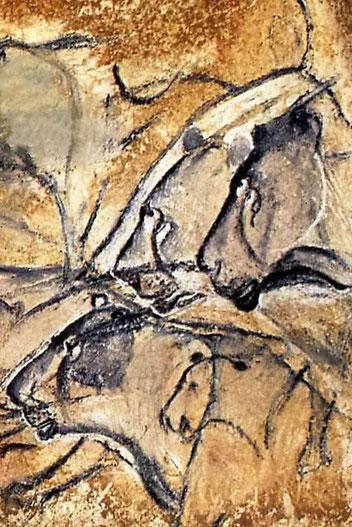 La fresque aux lions, l'un des panneaux de la groote Chauvet reproduit à la Caverne du Pont d'Arc