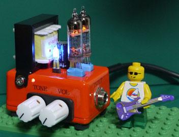 サブミニチュア管6021 小型真空管ギターアンプ製作 (W60mm X D40mm)  DIY 6021 small tube guitar amp
