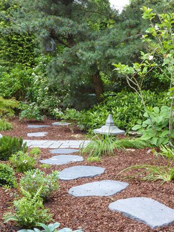 Ein Weg in Richtung Grundstücksgrenze suggeriert, dass der Garten hinter der Kiefer weitergeht.
