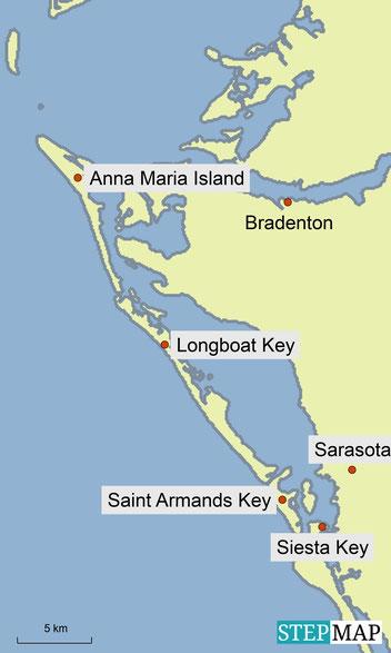 Karte unserer Unternehmung südlich von St. Petersburg in Florida