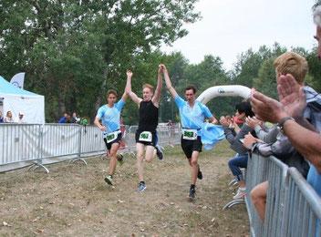 Ron, Sebastian und Martin aus dem Landesliga-Team schafften die beste Gesamtzeit der Tristars