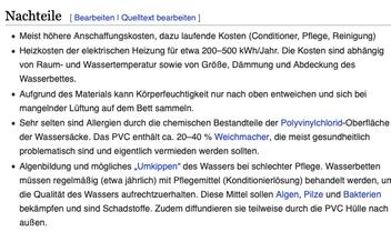 Aus: https://de.wikipedia.org/wiki/Wasserbett (4.9.2020)