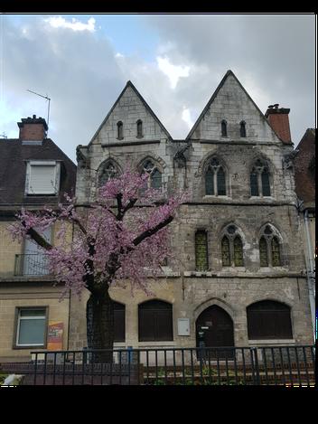 """L'ancienne maison, dite """"des Templiers"""", datant du 13ème siècle, avec une cerisier en fleurs"""