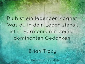 Du bist ein lebender Magnet. Was du in dein Leben ziehst, ist in Harmonie mit deinen dominanten Gedanken. Brian Tracy