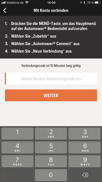 Husqvarna Automower Connect App Verbindungscode eingeben