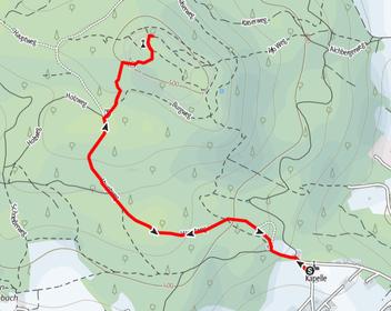 Route vom Parkplatz Kürnberg auf den Kürnberg bei Linz