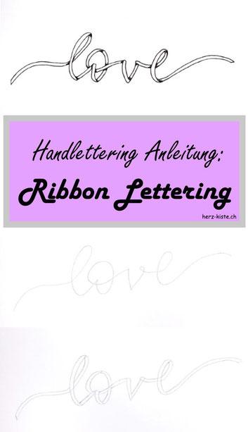 DIY Anleitung für ein Ribbon Lettering - so kannst du dein Lettering ganz einfach wie ein Band gestalten. Inklusive Tipps und Tricks damit du selber so ein Ribbon Lettering gestalten kannst