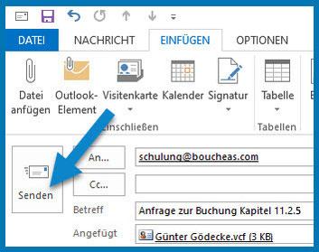 Bild: Outlook-Menüleiste | Pfeil weist auf SENDEN
