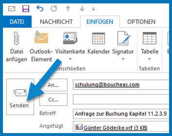 Bild: Outlook-Menüleiste: Pfeil weist auf SENDEN