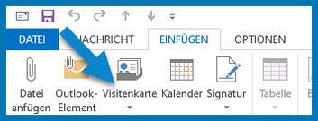 Bild: Outlook-Menüleiste:  Register Einfügen | Pfeil weist auf Visitenkarte
