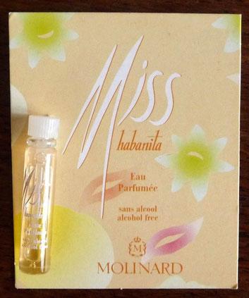 MOLINARD - MISS HABANITA : EAU PARFUMEE SANS ALCOOL, ECHANTILLON-TUBE