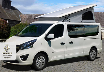 Reverse elevated Camperroof Renault Trafic