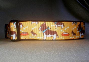 Halsband, Hund, Klickverschluss, 3 cm breit, Borte Bullterrier, Bully
