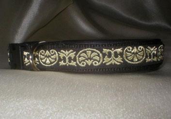 Klickverschluss, Halsband, 2,5cm, Gurtband schwarz, Borte Celtic