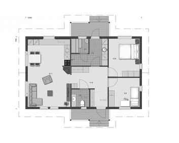 EG -Grundriss - Blockhaus Bungalow 90 mit Gästezimmer oder Homeoffice - Sauna - Barrierefreiheit - 50plus haus -  Singlehaus - Massivholzhaus - Grundriss - Entwurf - Typenhaus - Architektenhaus