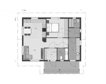 EG -Grundriss - Blockhaus Bungalow - Sauna - Barrierefreiheit - Blockhaus - Bungalow - 50plus haus -  Singlehaus - Massivholzhaus - Grundriss - Entwurf - Typenhaus