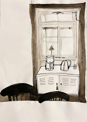 Nina Gross Kunst Zeichnung art Fenster Wohnräume