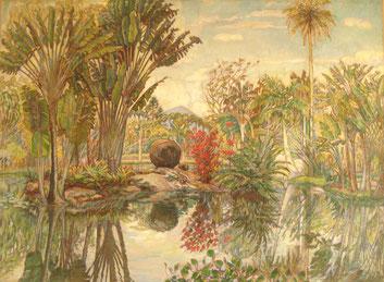 jardin botanique 120x145 huile sur toile André Aaron Blils