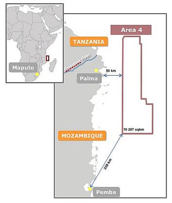 Mappa dell'Area 4 di intervento Eni a nord est del Mozambico (courtesy Eni)