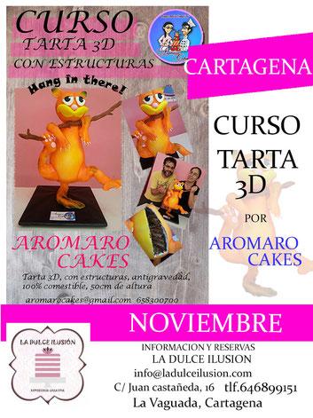 Curso de repostería creativa avanzado en Cartagena, impartido por aromaro cakes. Tartas modeladas. Tartas en 3D. Curso de tarta en 3D con estructuras antigravedad. Tartas de fondant, bizcochos y dummies.