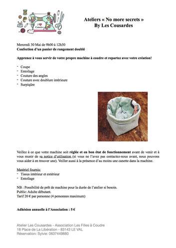 Atelier confection d'un panier de rangement mercredi 30 mai 2018 niveau débutant