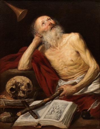 Antonio de Pereda,San Jerónimo 1643.Protagonista único y seña de identidad del realismo pictórico español, interiores pintados como bodegones.