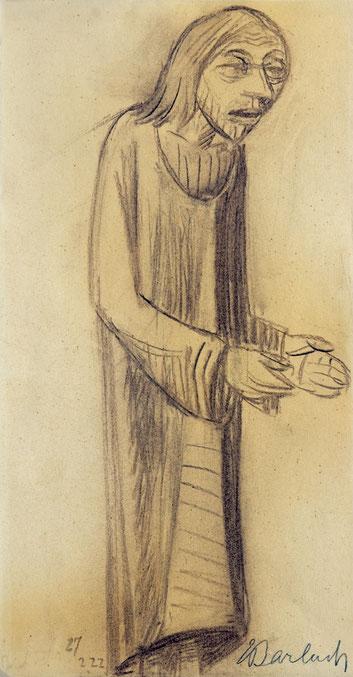 Lehrender Christus, mit vorgestreckten Händen. 1922. Kohle auf festem Papier (aus einem Skizzenblock). 51 x 27 cm Unten rechts mit Bleistift signiert: E Barlach. Unten links datiert: 27 2 22.