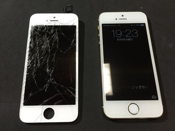 iPhone5sガラス割れ修理