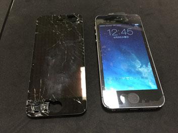 iPhone5Sガラス割れ交換修理