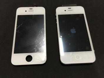 iPhone4s ガラス割れ修理完了