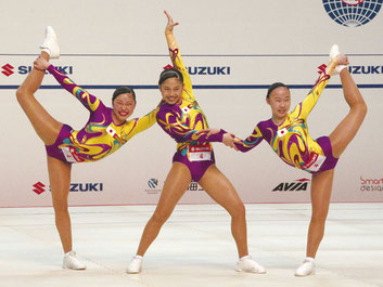ユースAG2トリオ準優勝の(左から)大島・矢羽々・金子
