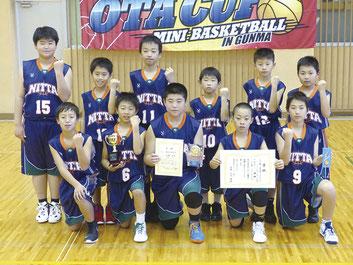 男子Yリーグ優勝の新田ミニバスケットボールクラブ
