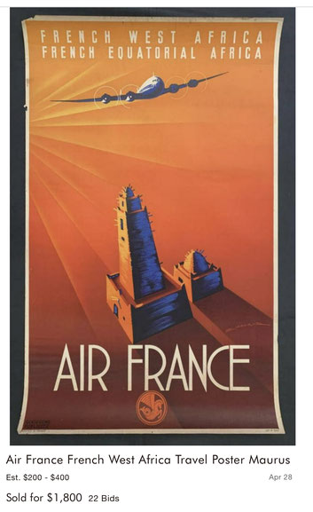 Air France - French West and Equatorial Africa - Original vintage airline poster by Edmond Maurus